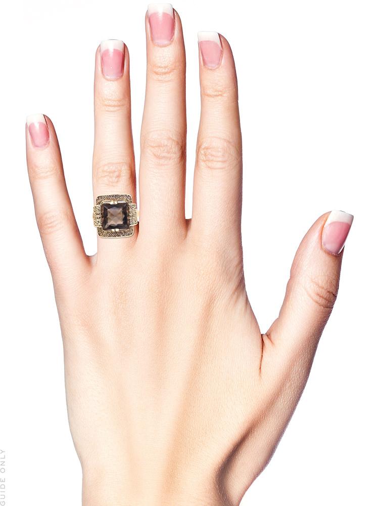 Theodor Farhner Silver Gilt & Smoky Quartz Ring