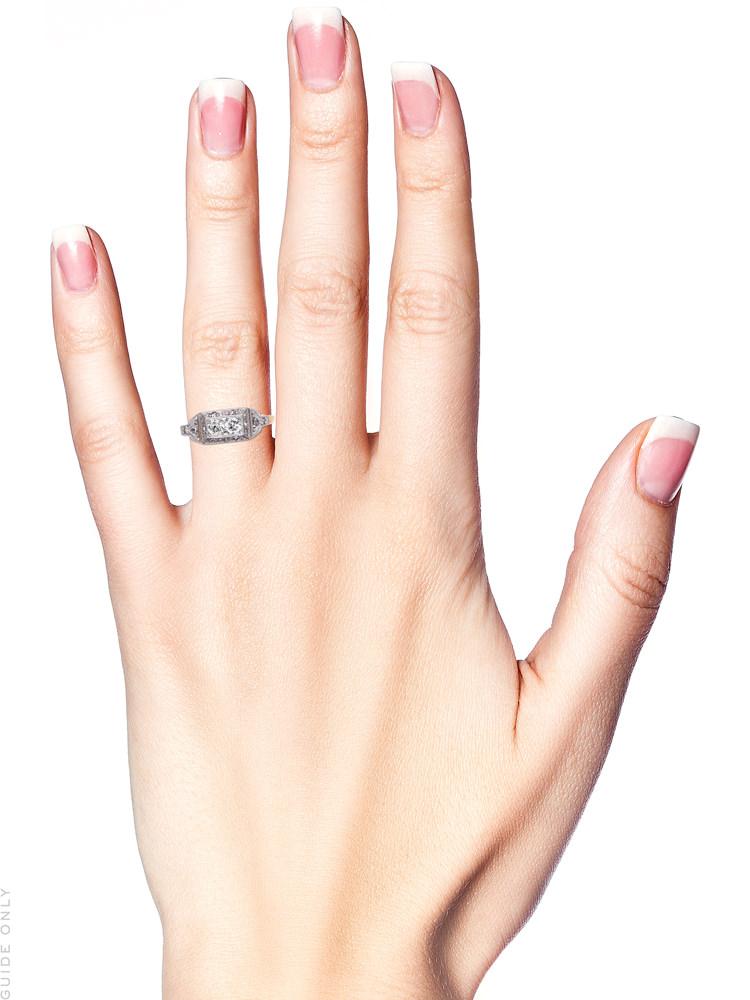 Art Deco Rectangular Two Stone Diamond Ring