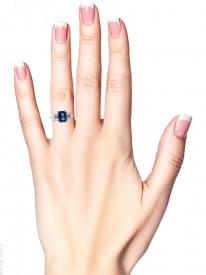 Platinum, Sapphire & Diamond Baguette Ring