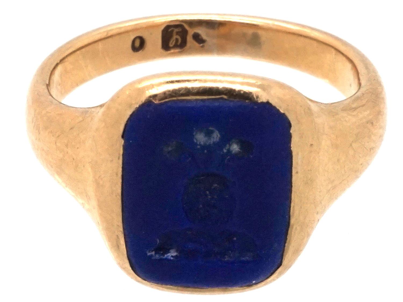 18ct Gold & Lapis Intaglio Signet Ring