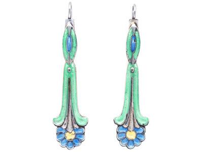 Silver & Enamel Drop Earrings