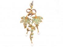 Art Nouveau Plique-à-Jour 18ct Gold, Diamond & Natural Pearl Pendant