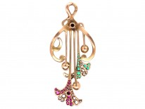 Art Nouveau French 18ct Gold,Ruby, Emerald, Diamond & Natural Pearl Pendant