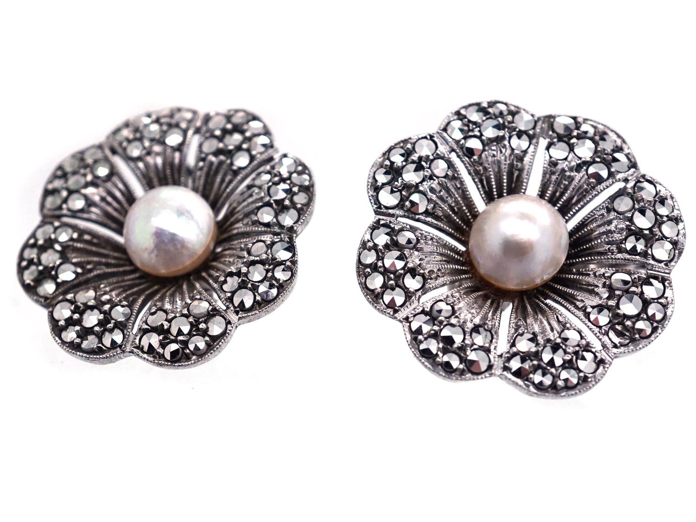 Silver, Bouton Pearl & Marcasite Earrings