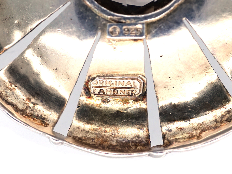 Theodor Farhner Art Deco Silver & Smoky Quartz Round Brooch