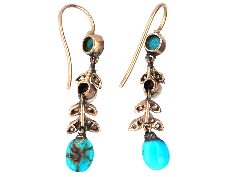 Edwardian Turquoise, Natural Pearl & Rose Diamond Drop Earrings