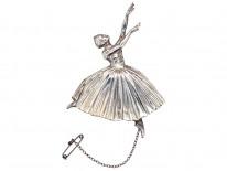 Retro Silver Ballerina Brooch
