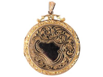 9ct Gold Large Round Locket Pendant