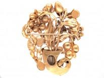 18ct Gold Large Georgian Cornucopia Brooch set with Precious Gemstones