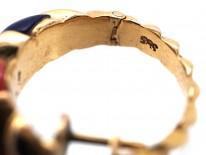 14ct Gold, Coral, Lapis Lazuli & Diamond Hoop Earrings