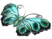 Silver, Green, Black & Red Enamel Butterfly Brooch