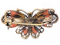 Silver Filigree & Orange Enamel Butterfly Brooch
