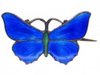 Small Silver, Blue & Green Enamel Butterfly Brooch