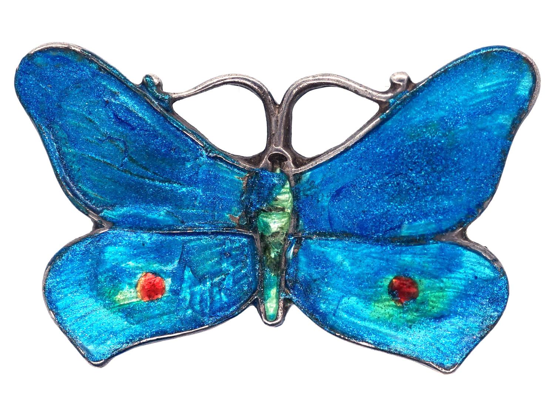 Small Silver & Blue Enamel Butterfly Brooch