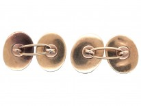 Victorian 15ct Gold & Banded Onyx Oval Cufflinks