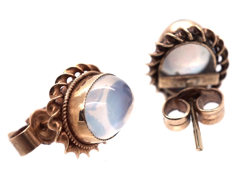 9ct Gold & Moonstone Oval Earrings