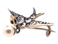 Edwardian Small Silver & Paste Swallow Brooch