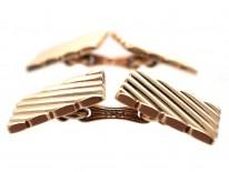 14ct Gold Stripey Cufflinks by Tiffany, New York