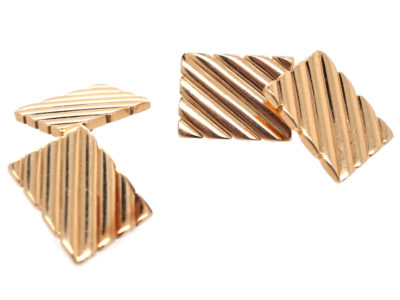 14ct Gold Stripey Cufflinks by Tiffany, New York