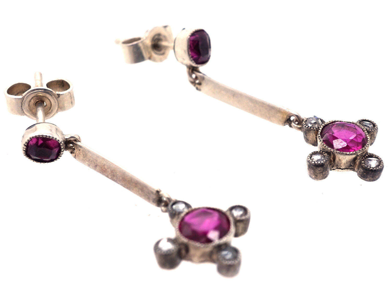 Edwardian 18ct White Gold Ruby & Diamond Drop Earrings