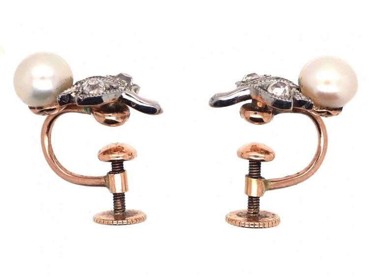 Edwardian Natural Pearl & Diamond Screw on Earrings