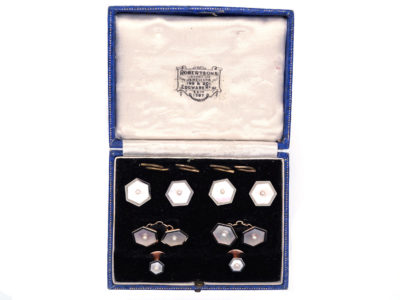 18ct & 9ct Gold, Mother of Pearl & Natural Pearl Art Deco Dress Set
