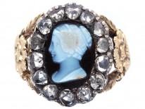 Georgian 18ct Gold Rose Diamond & Hardstone Cameo Ring