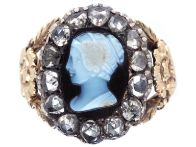 Georgian 18ct Gold Rose Diamond & Hardstone Cameo Ring