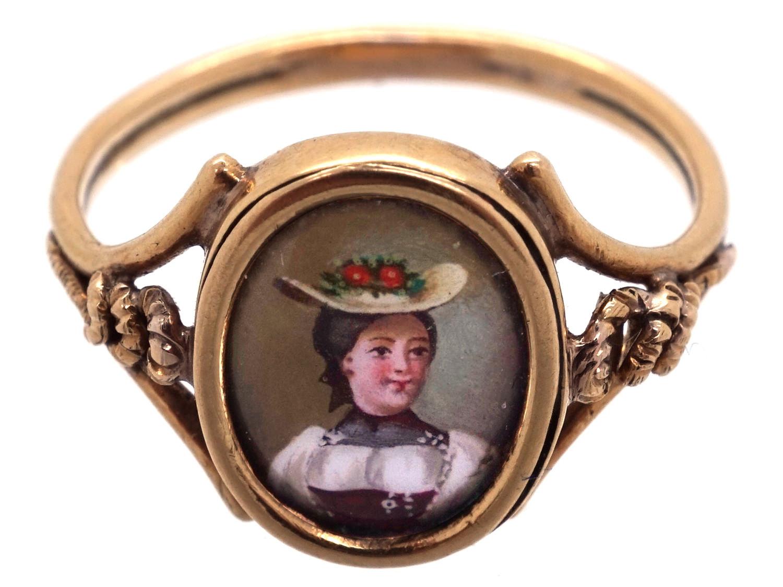 15ct Gold Regency Swiss Enamel Miniature Ring
