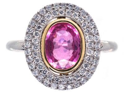 Platinum, Pink Sapphire & Diamond Oval Cluster Ring