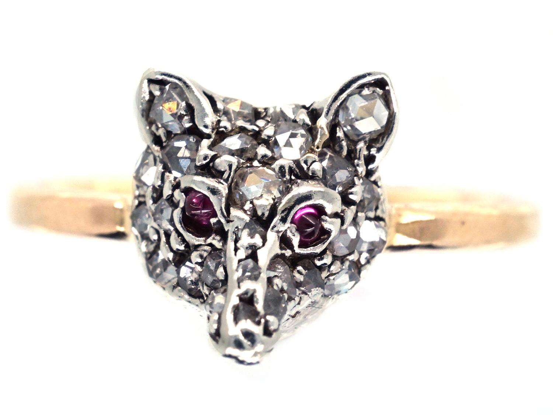 Diamond Fox Head Ring