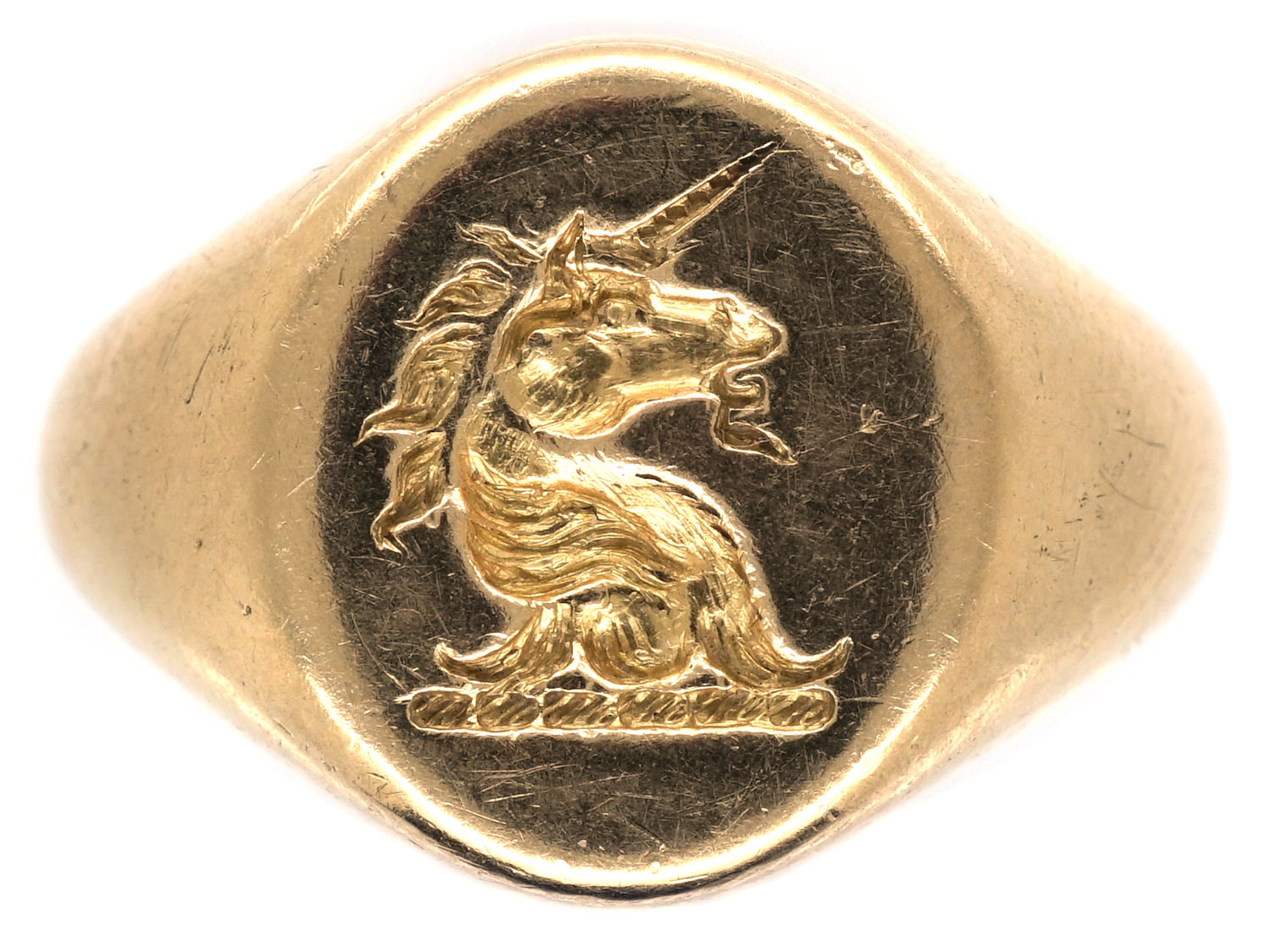 18ct Gold Signet Ring Retailed by Cartier with Unicorn Intaglio