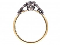 Art Deco Diamond Solitaire Ring with Leaf Shoulders