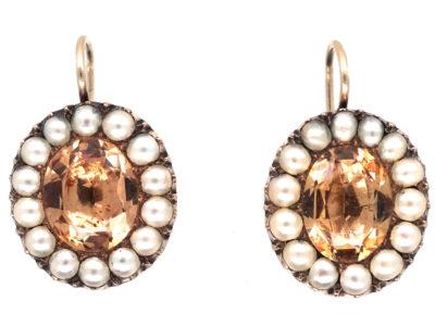 Georgian Precious Topaz & Natural Split Pearl Oval Earrings