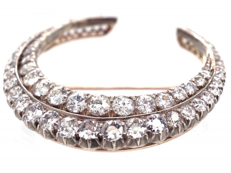 Large Victorian Diamond Double Crescent Brooch