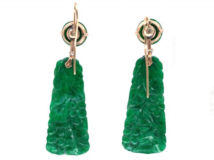 Art Deco Carved Jade Drop Earrings