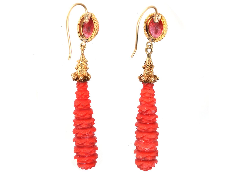 Georgian 18ct Gold & Carved Coral Drop Earrings
