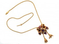 Victorian 18ct Gold, Garnet & Chrysolite Pendant with Two Drops on Snake Chain