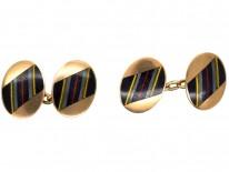 9ct Gold & Enamel Oval Cufflinks