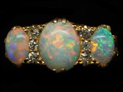 Victorian 18ct Gold, Opal & Diamond Ring