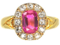 Victorian 18ct Gold Pink Sapphire & Diamond Cluster Ring