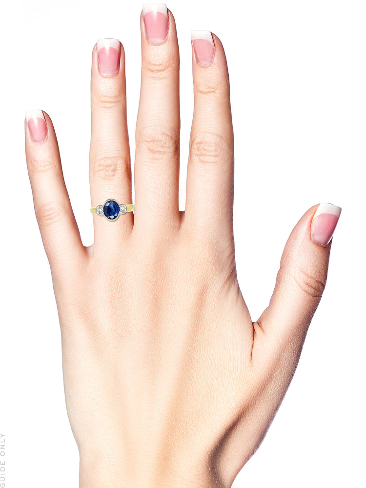 18ct Gold Sapphire & Diamond Three Stone Ring