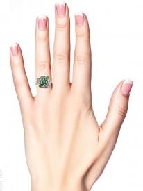 Edwardian 18ct Gold & Platinum Emerald & Diamond Diagonal Ring