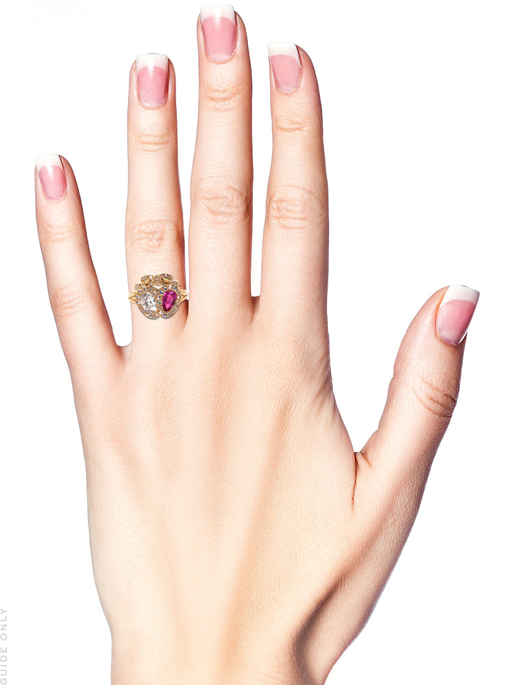 Victorian 18ct Gold Diamond & Ruby Double Heart Ring