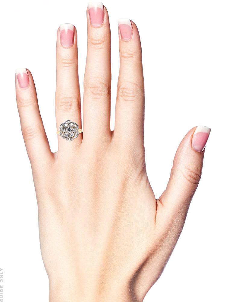 Edwardian 18ct Gold & Platinum Openwork Diamond Cluster Ring