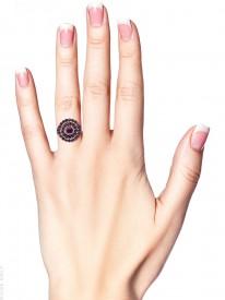 Austro-Hungarian Silver Garnet & Natural Pearls Cluster Ring