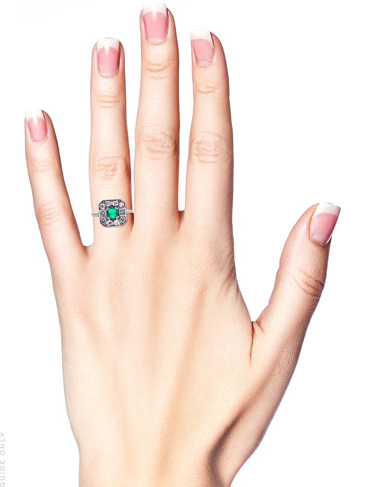 18ct White Gold, Emerald & Diamond Square Ring