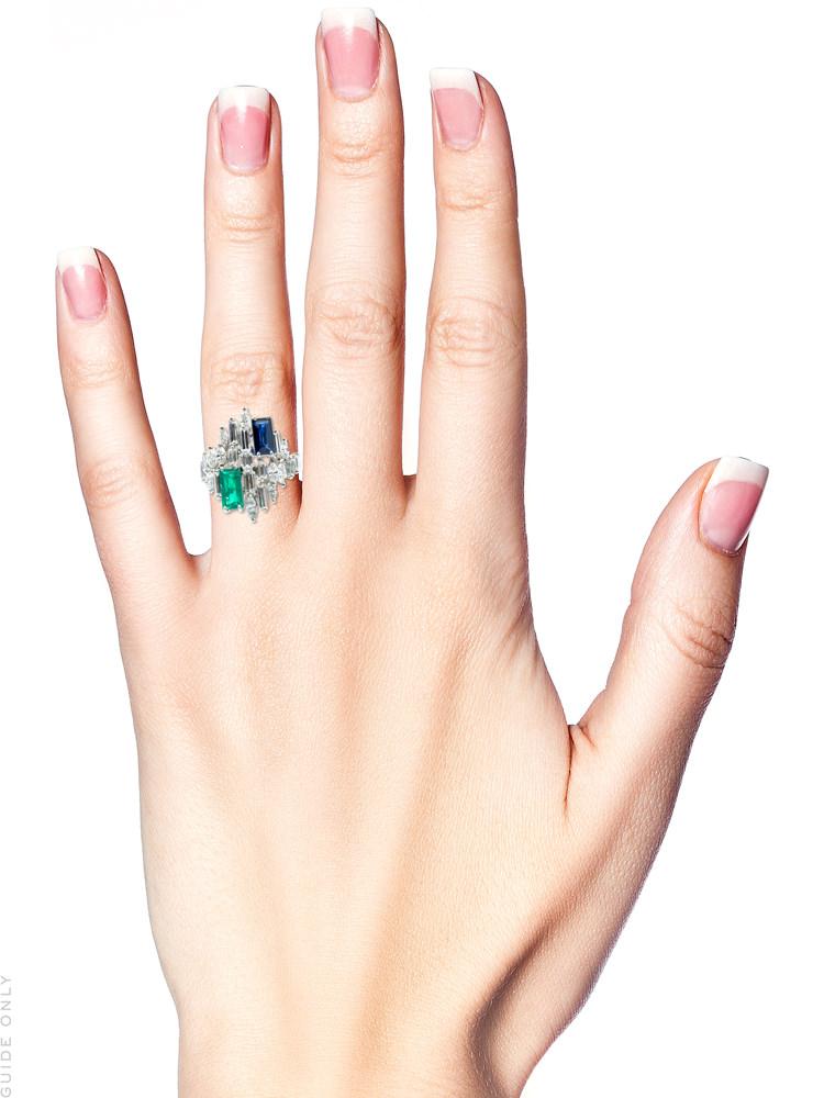 Platinum, Sapphire, Diamond & Emerald 1970s Ring