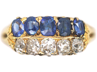 Victorian 18ct Gold Sapphire & Diamond Two Row Ring
