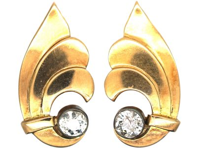 Art Deco 18ct Gold ​& Diamond Clip On Wing Shaped Earrings